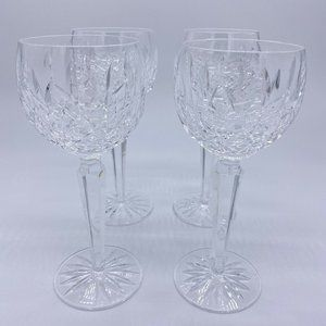 4 Signed Waterford Crystal Lismore Hock Wine Glass